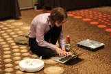 The Spark crew works on a Spark-controlled Roomba.