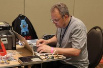 Ande Gelme customizing a Robot t-shirt.