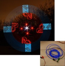 """Though artist Wes Whaley has so far been close-mouthed about the details of this tool (a tutorial is """"in the works""""), it's known that he uses carefully shaped pieces of electroluminescent (EL) wire to punctuate conventional spinning arcs with contrasting angular, highly geometric patterns."""