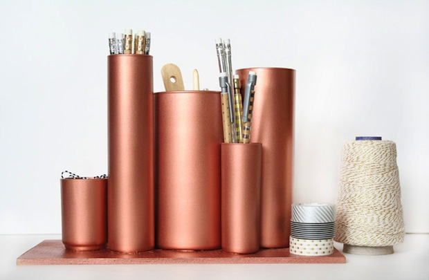 How-To: Glass and Copper Desktop Organizer