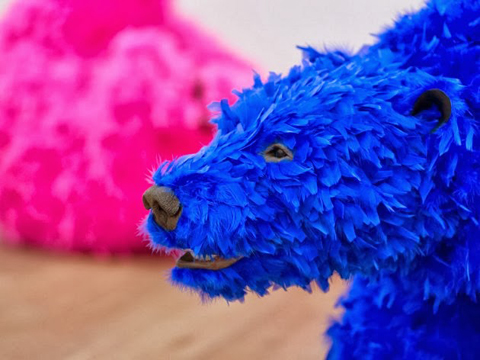 Feather-Covered Bear Sculptures