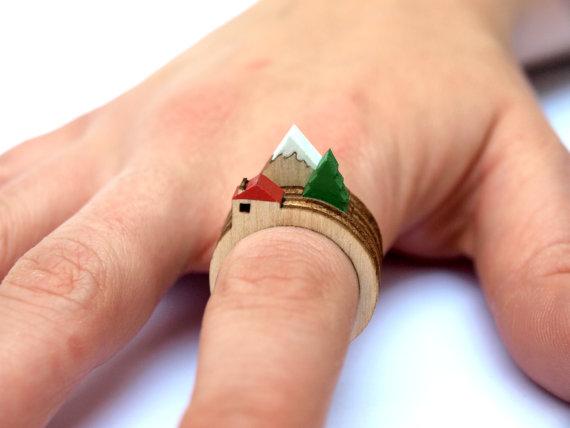 Laser-Cut Wooden Landscape Rings