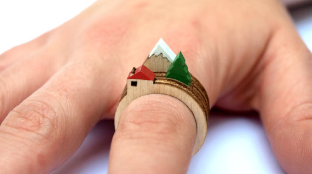 Laser-Cut Wooden Landscape Rings