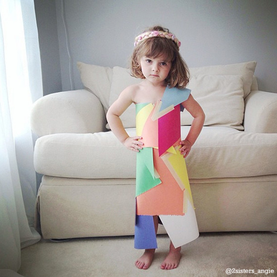 Mother And 4-Year-Old Daughter Craft Increasingly Elaborate Paper Dresses