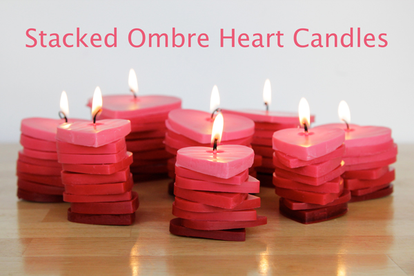 How-To: Stacked Ombre Heart Candles