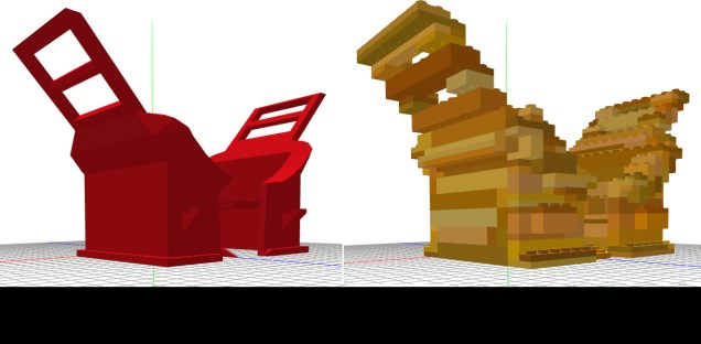 Converting the 3D model to Lego.