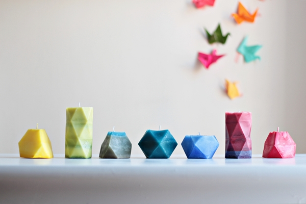 How-To: Colorful Faceted Candles