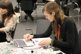 """In the """"Hack Your House"""" workshop, attendees controlled a home doorlock with an Arduino, an RFID reader and a servo motor."""
