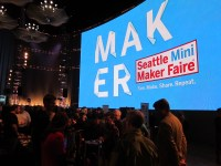 The main hall in the EMP held about 15 maker exhibits and one of the world's largest HD LED screens.