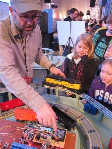 Roman Mach's Arduino-powered Autonomous Toy Train was built just for the Seattle Mini Maker Faire.
