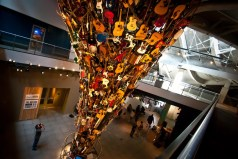 """Seattle scupltor Trimpin is a renowned master maker. His """"If VI Was IX: Roots and Branches"""" is a permanent install at the EMP. Photo courtesy thetravelchica.com"""