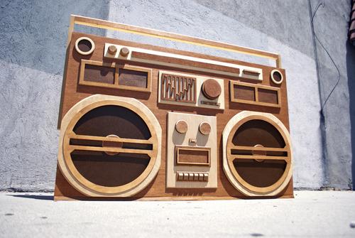 Wooden Boombox Sculpture