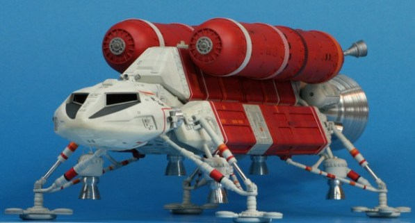 Alex Dumas' 1/87 scale replica of the Swift, a spacecraft from the late-70s British TV series Space: 1999.