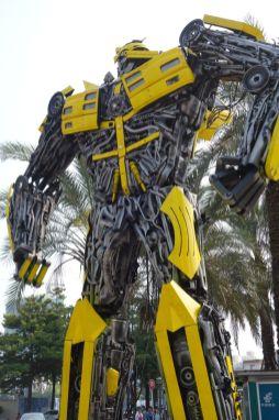 A Bumblebee Transformer-like robot sculpture.