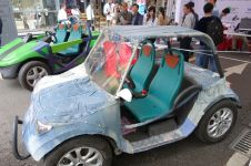 This jean-covered car was part of an exhibit on Open Source Vehicles.