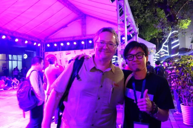 Kevin Lau was the man behind the scenes for Seeed Studio, making the event run smoothly.