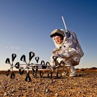 Hungarian Google Lunar X-Prize Rover Puli together with Aouda.X Mars spacesuit. (c) OeWF (Katja Zanella-Kux)