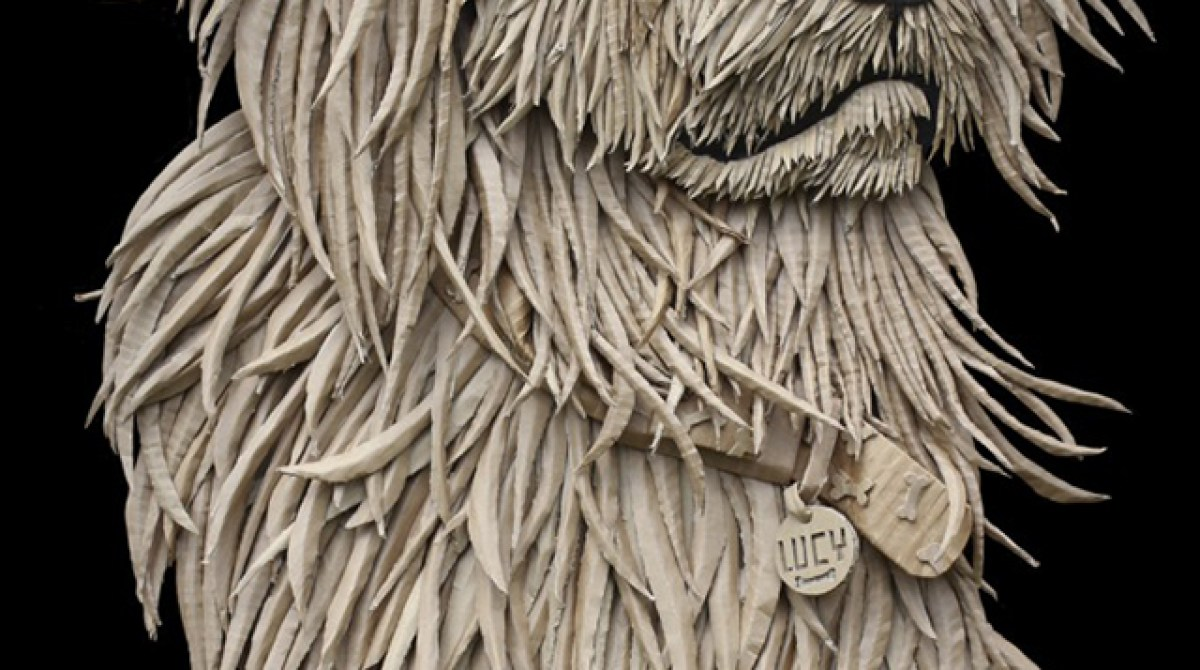 Portrait of a Dog Made From Salvaged Cardboard