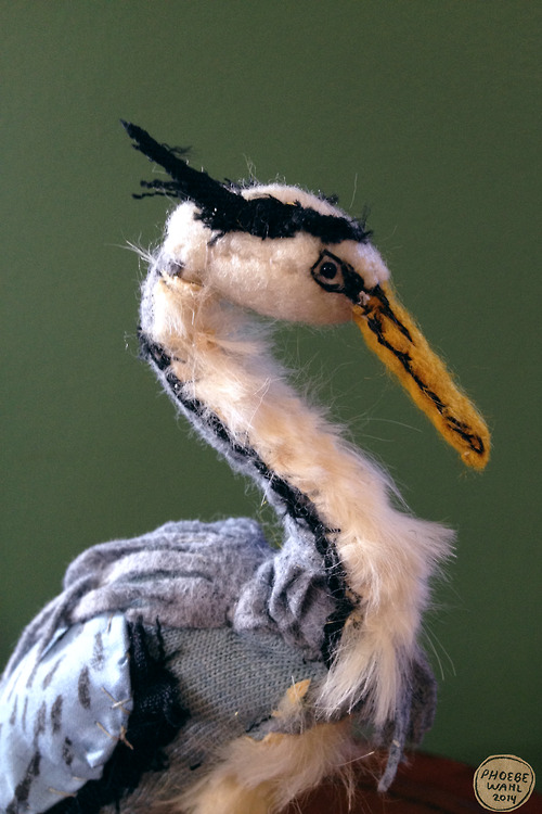 Great Blue Heron Sculpture From Salvaged Fabric