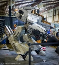 Shawn Thorsson built a life size replica of Robocop's ED-209 robot and had it operational on Sunday.