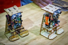 Quite a few booths showed off simple robot designs for education and experimentation.