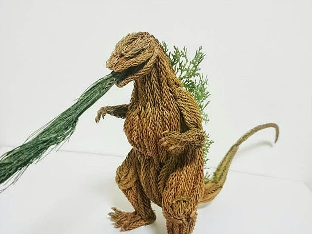 Godzilla Sculpture Made From Tree Branches