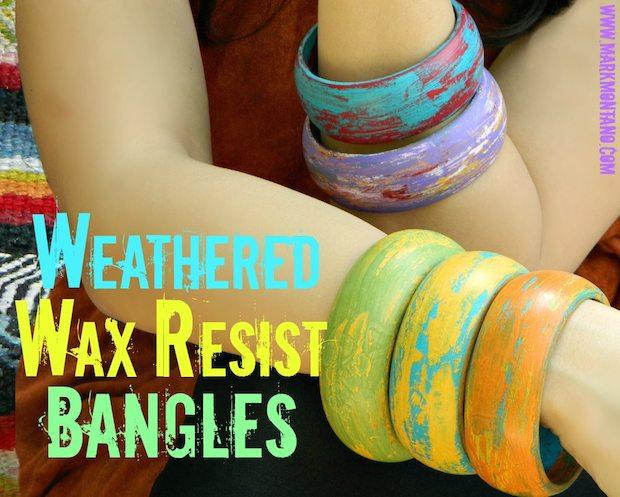 How-To: Weathered Wood Wax Resist Bangle Bracelets