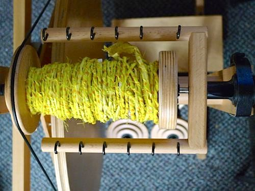 Reader Test: Spinning Fabric Twine on a Spinning Wheel
