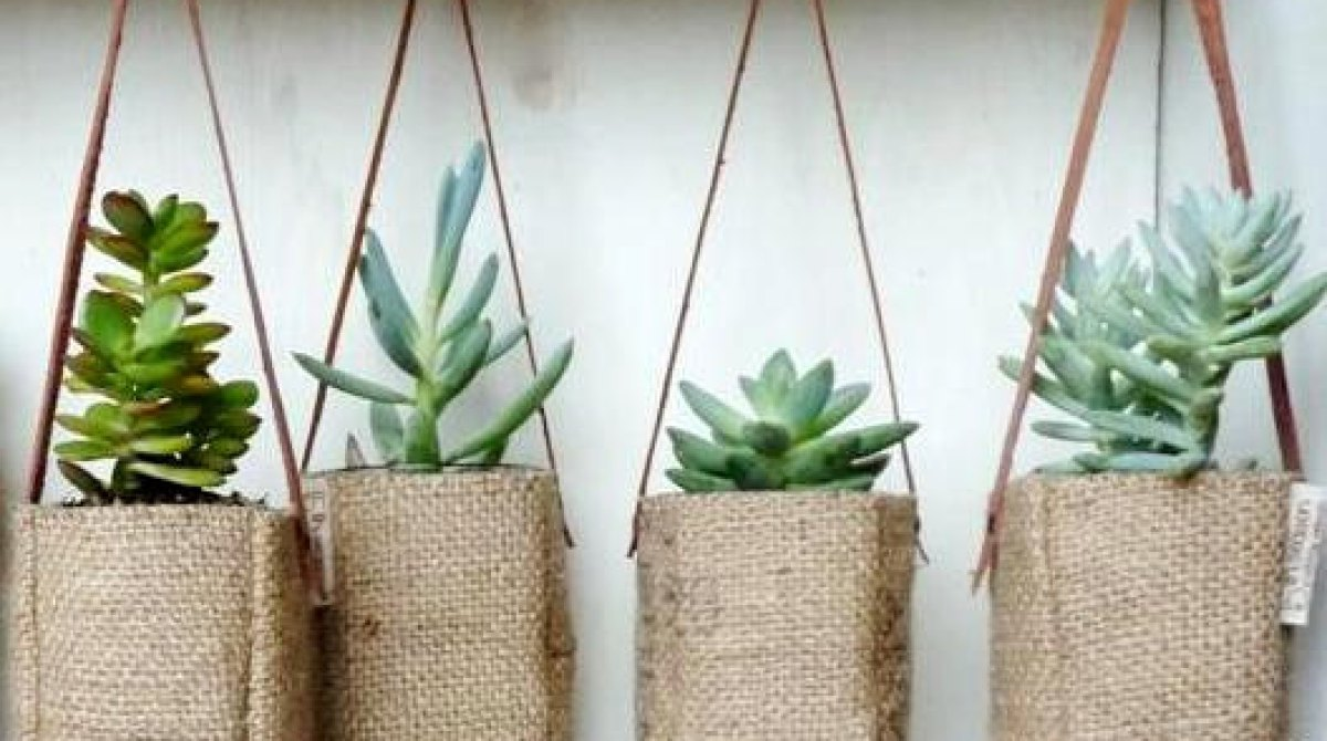 Upcycled Coffee Burlap Planter Bags