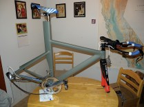The bike, fully assembled (minus wheels). After Bondo came a layer of self-etching primer, but the painting process was interrupted on the weekends. By that time she needed it for races!