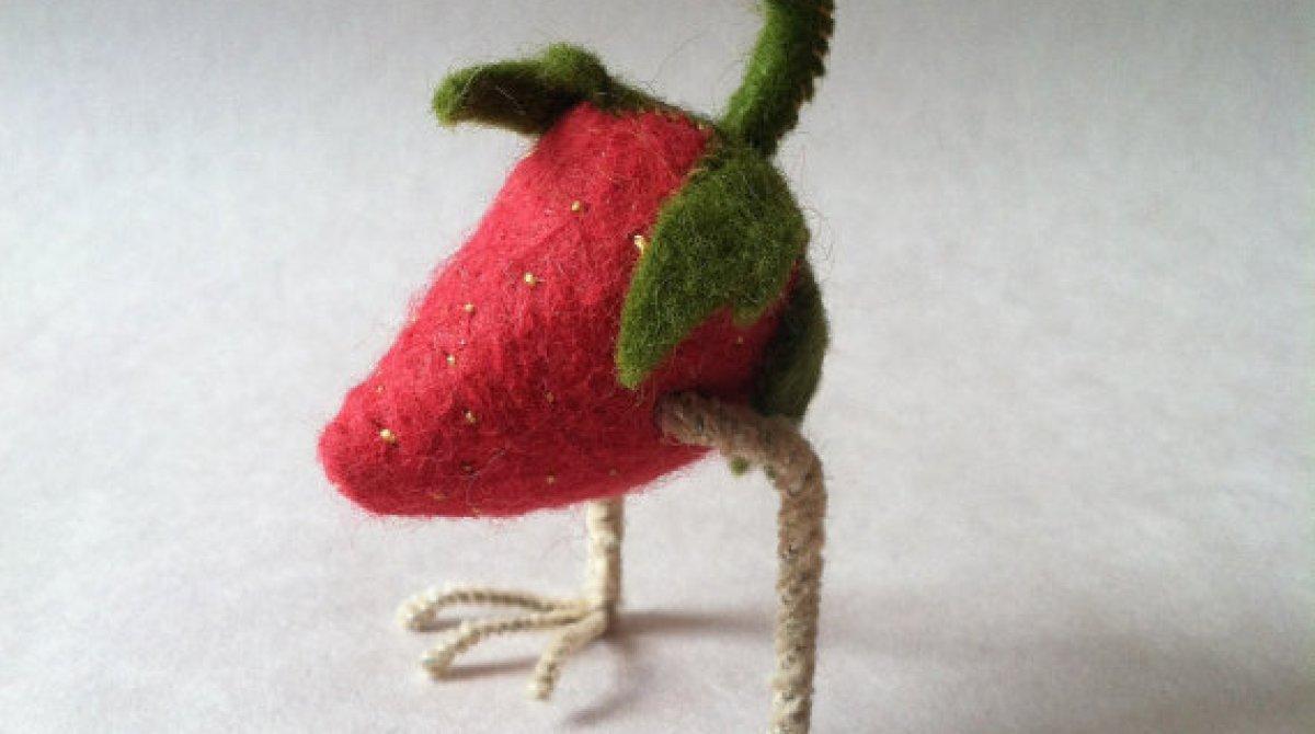 Little Felt Strawberry Bird Creatures