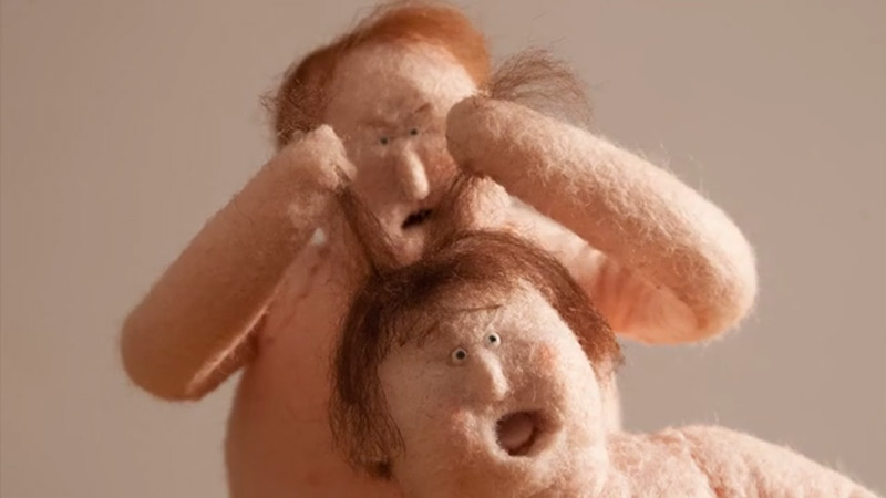 Felted Puppets Wrestle In Stop Motion Animation