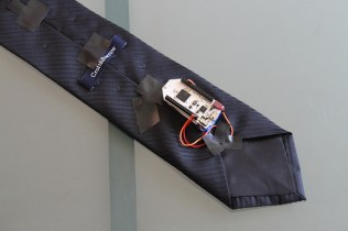 Back of the tie, showing the brains. Only 1 digital pin used. (Easy electrical tape installment)