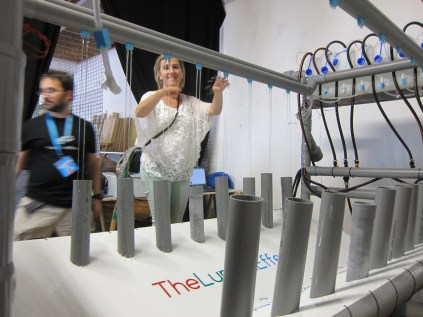 Giant water piano by The Lumen Effect, a prototyping and design team from nearby San Sebastian. thelumeneffect.com