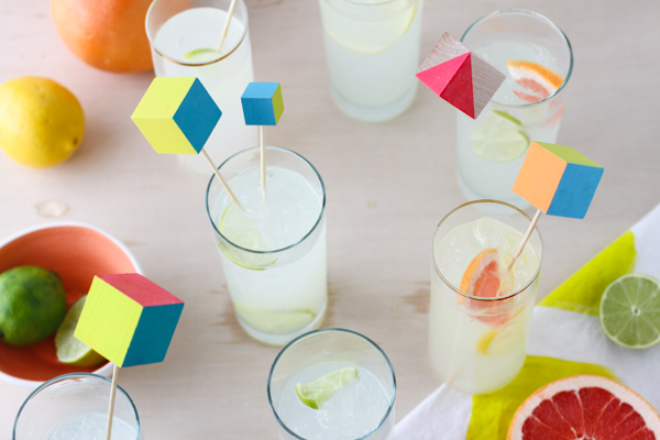 How-To: Vibrant Wood Block Drink Stirrers
