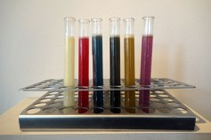 Colored test tubes contain the genes for (from left to right) obesity, anger, serotonin levels, dyslexia, alcoholism, and sexual orientation. The piece ponders, can the human experience really be deduced to this? By Kristin Anderson