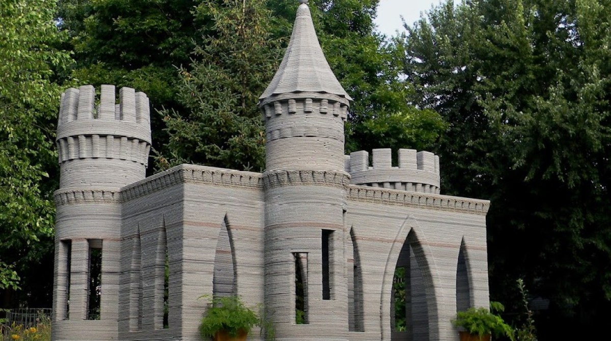 Castle 3D Printed With Concrete In Someone's Yard
