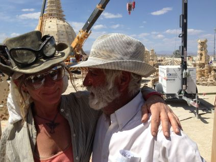 Temple artist David Best with artist Karen Cusolito, who according to Best, contributed game-saving design solutions