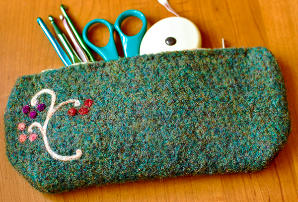 How-To: Felted Crocheted Pencil or Craft Supply Case