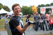 Stephen Hawes shows off his Wrist-Mounted Flamethrower; it's controlled by an Arduino board and uses a modified taser circuit for ignition.