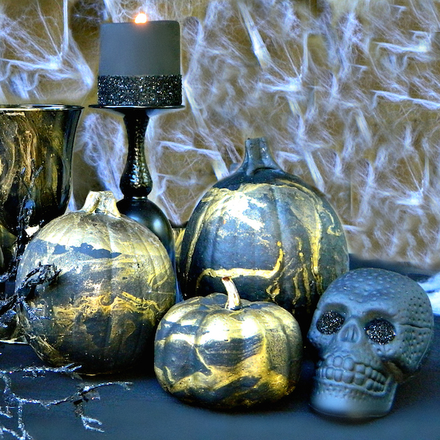 How-To: Metallic Marbled Pumpkins