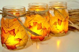 Decoupaged Leaf Mason Jar Candle Holders ( Link)