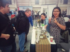 Lisa from Nomiku is having fun showing off their sous vide device.