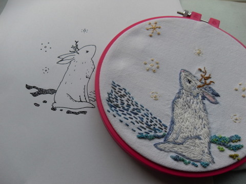 Winter Jackalope Embroidery