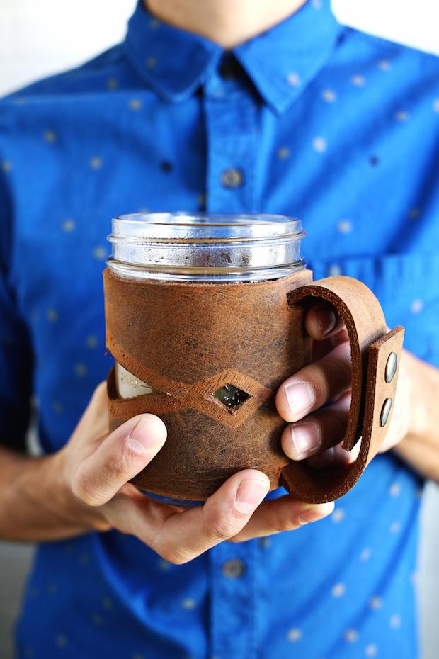 How-To: Leather Mason Jar Sleeve