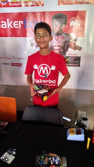 Makerboy was proudly demonstrating how he built his robotic platform in 6 months. Joey and Quin, here is your next body here in South Africa!