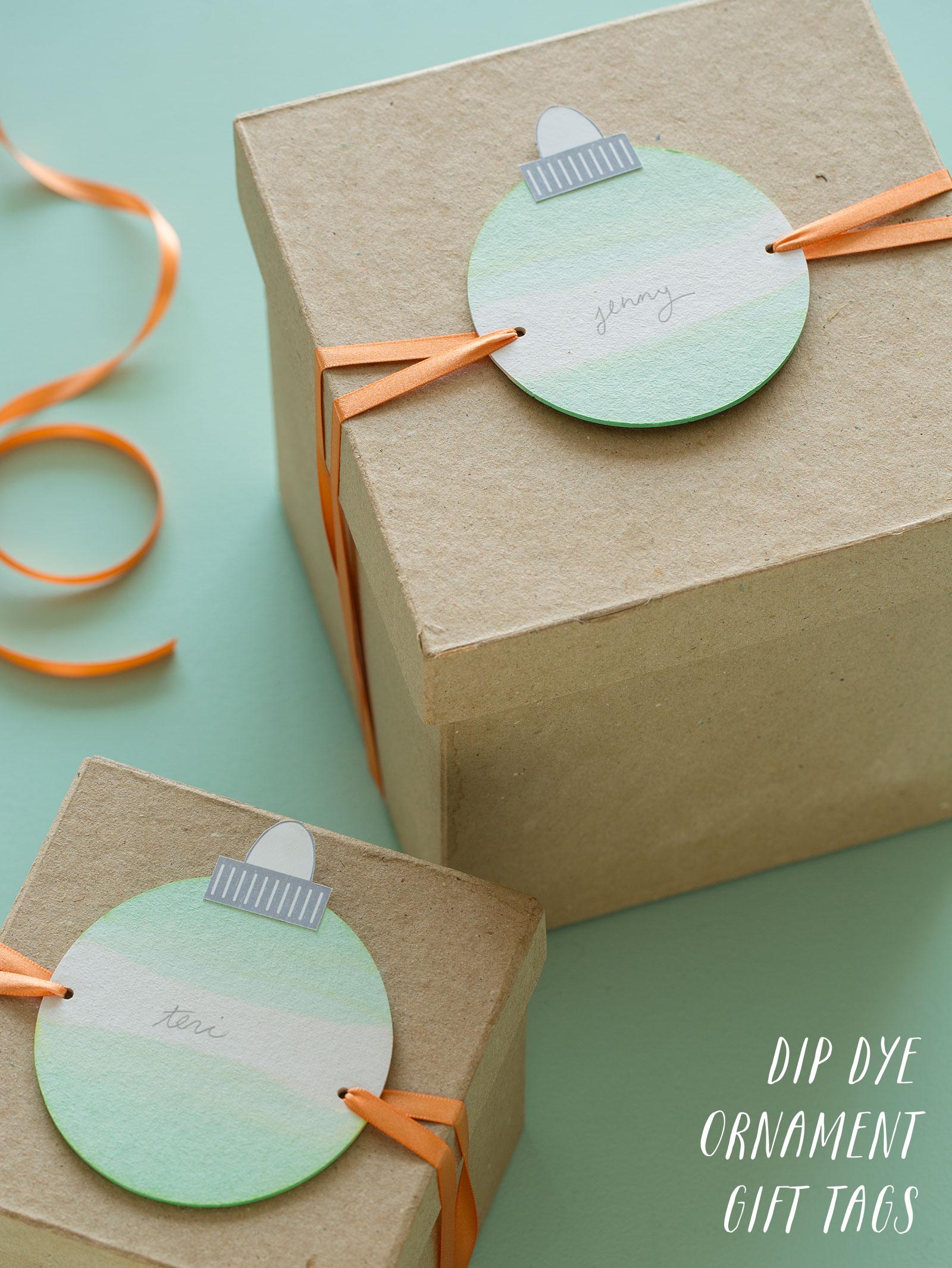 DIY Dip Dye Ornament Gift Tags