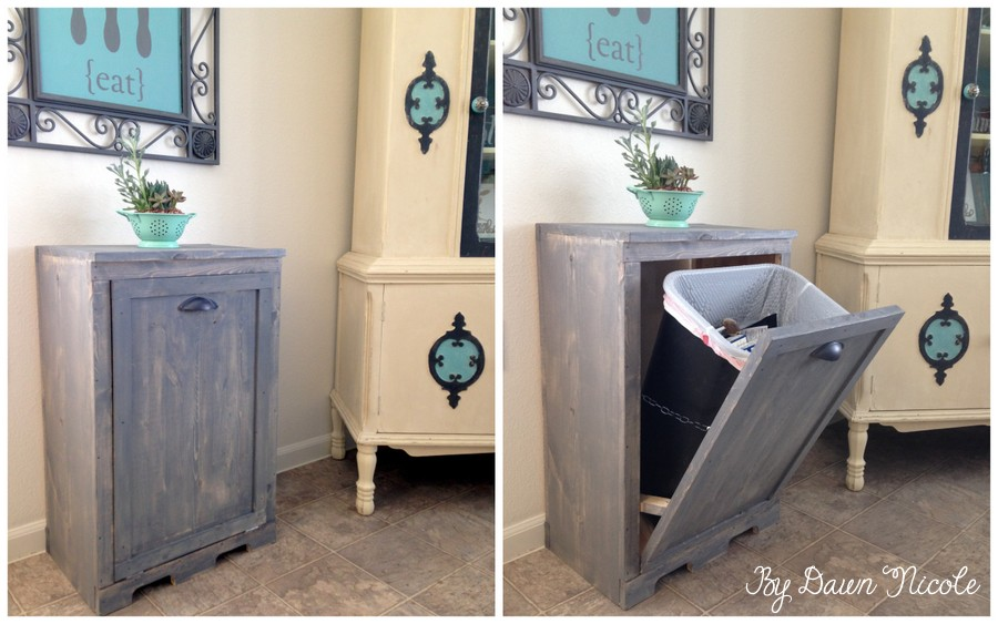 DIY Wood Cabinet to Stash Your Trash