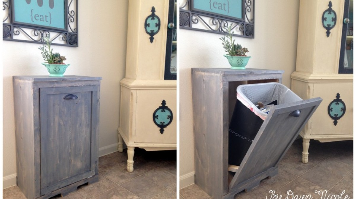 DIY Wood Cabinet to Stash Your Trash