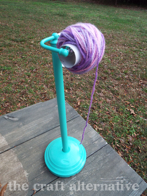 DIY Yarn Holder Made From a Toilet Paper Stand